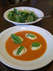 Tomato Soup with Mozzarella Croutons and Market Salad