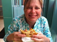 Heather enjoys a crepe at It's Just Crepes