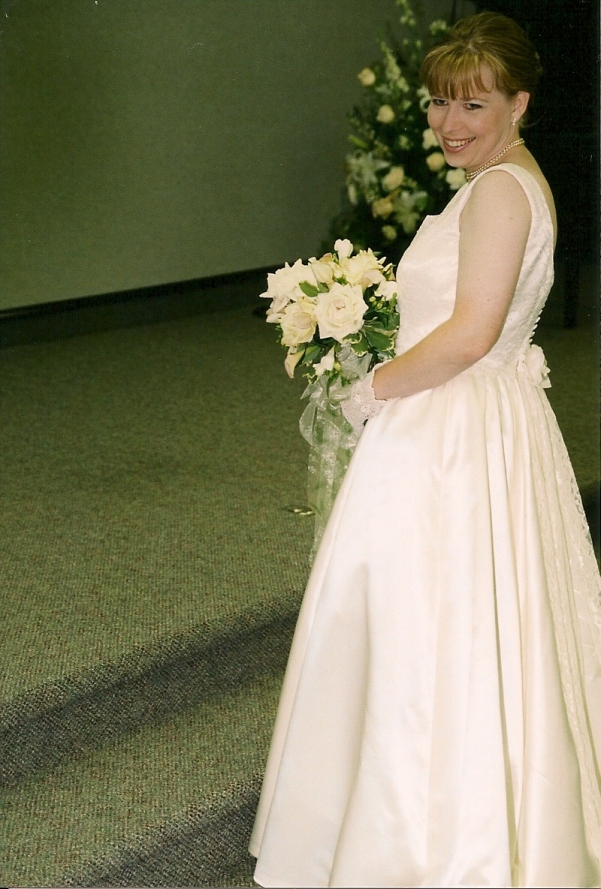 Heather on her wedding day