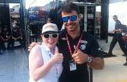 Heather Fink with driver Oriol Servia