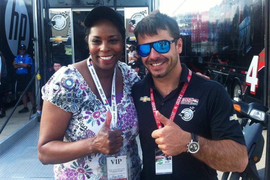 Sheila Lollis with driver Oriol Servia