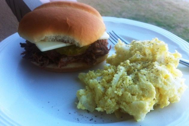 Southern pulled-pork sandwich with potato salad