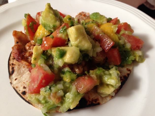 Spicy Chicken Tacos with Mango-Avocado Salsa