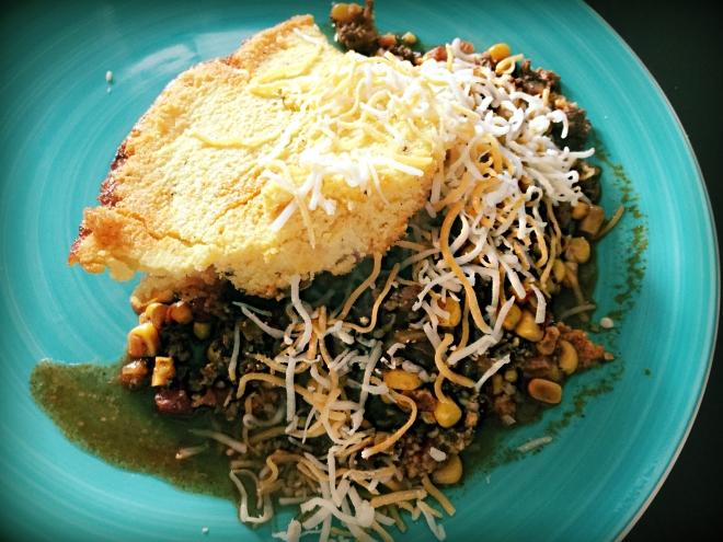 Cornbread-Chili Casserole Plated