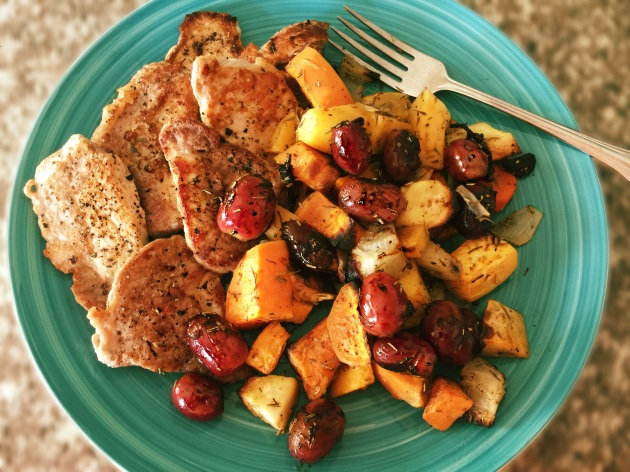 Pork tenderloin with roasted root vegetables and grapes