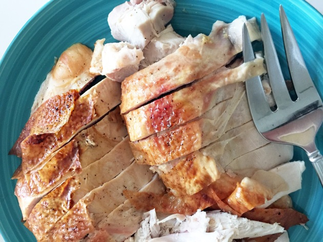 Sliced turkey breast with fork