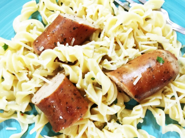 Smoked Sausage with Herb Egg Noodles