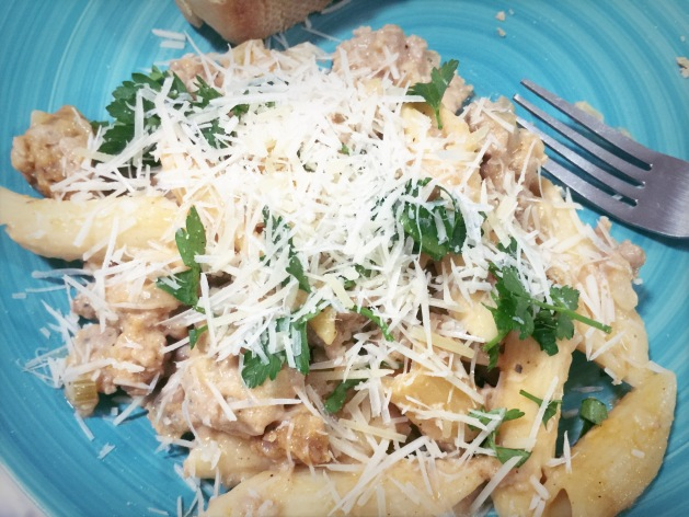 ... Penne with Italian Chicken Sausage and Fennel. (Photo by Jathan Fink