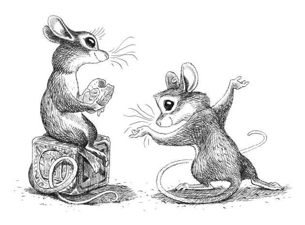 Isaiah the mouse bows to the lovely Mikayla in Joe Sutphin's illustration from WORD OF MOUSE