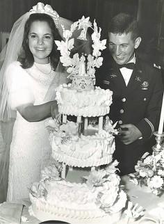 Ina Garten and her husband Jeffrey on their wedding day