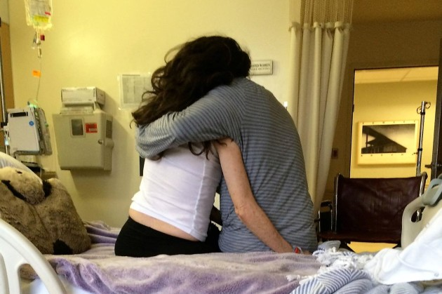 Amy Silverstein and her husband Scott minutes before her second heart transplant