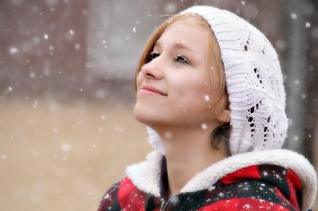 Snow on eyelashes