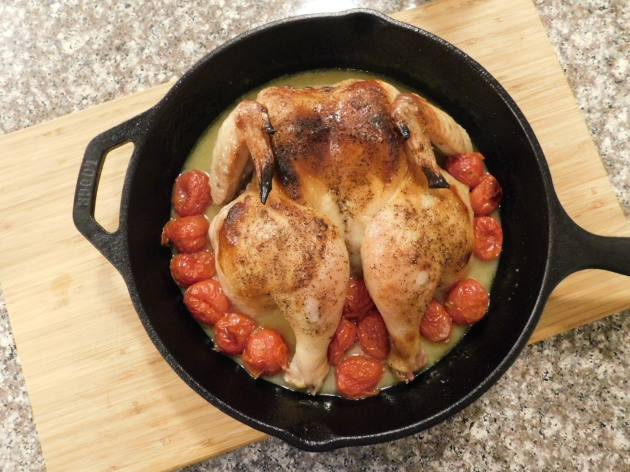 Spatchcock Chicken with Tomatoes