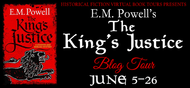 E.M. Powell's THE KING'S JUSTICE blog tour header