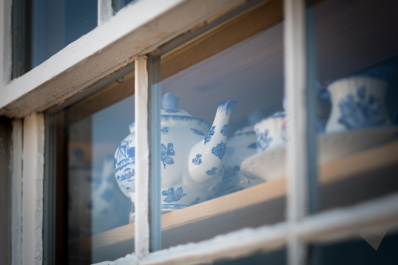 Delftware in a window
