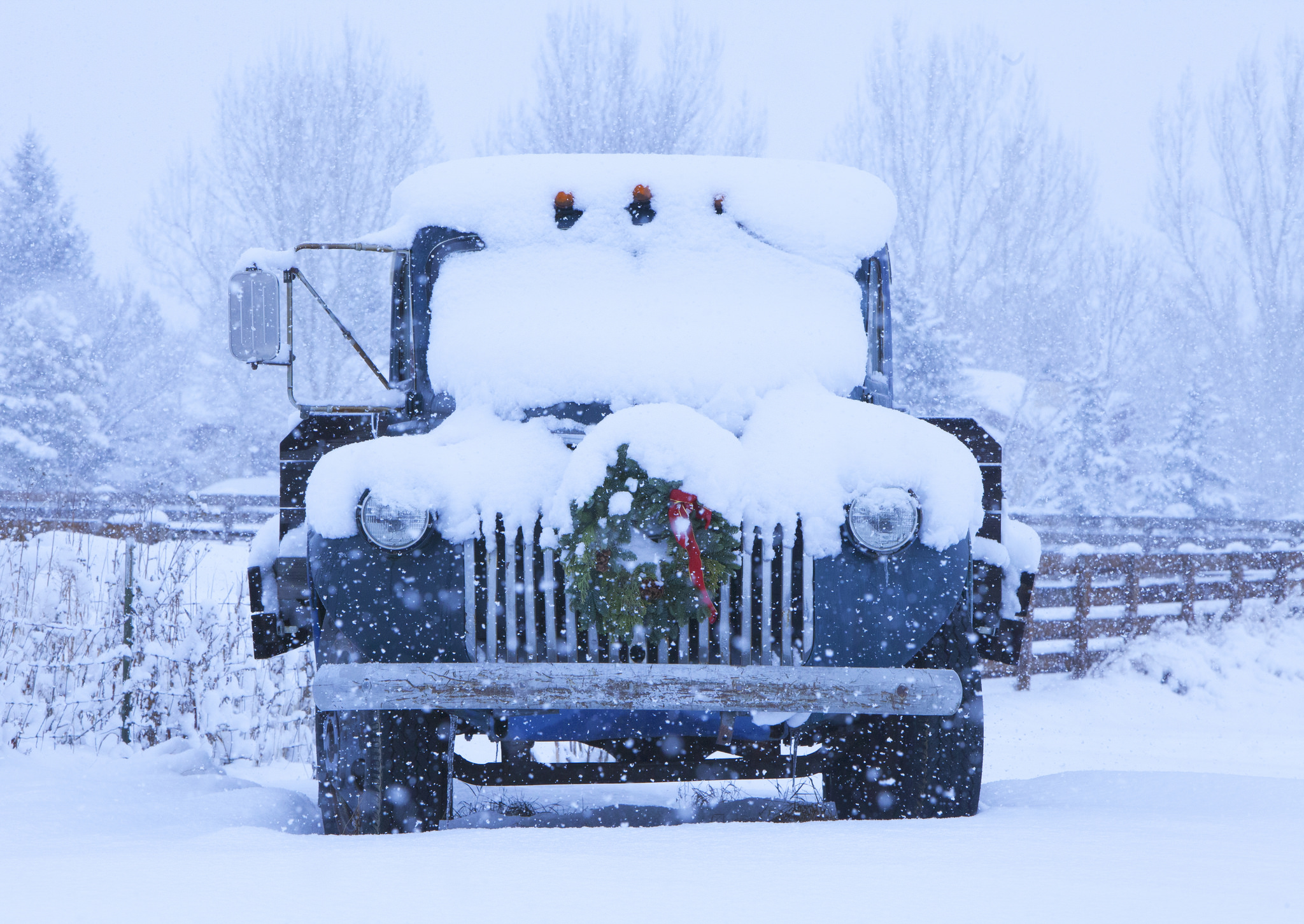 Old Truck with Christmas Wreath