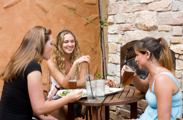 Three girls sharing lunch