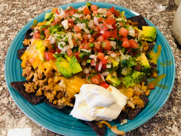 Loaded Blue Corn Turkey Nachos