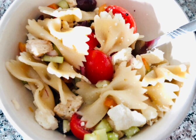 Greek Grilled Chicken Pasta Salad