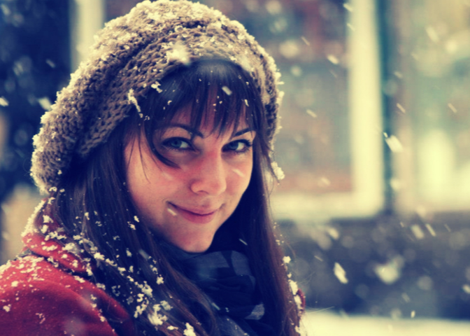 Woman in snowfall