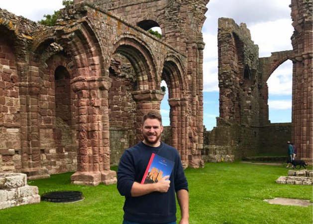 C.J. Adrien at the Holy Island of Lindisfarne
