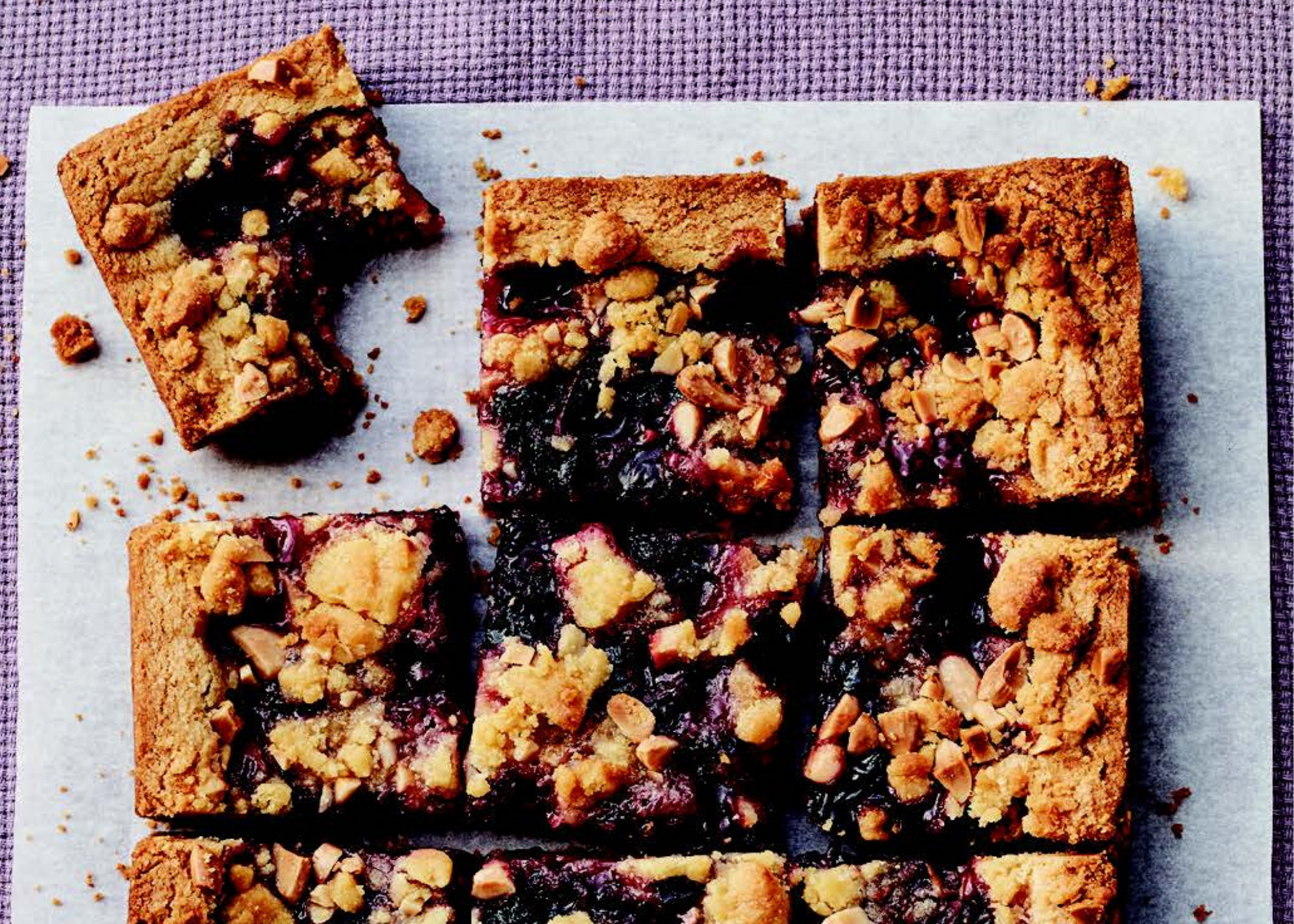 Plum-and-Blackberry Cornmeal-Almond Crumb Bars